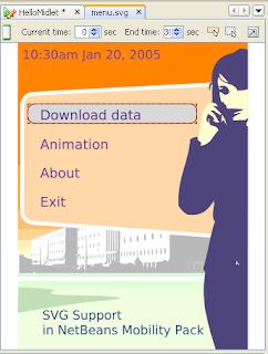 Java ME menu with SVG-tiny  | Software Passion