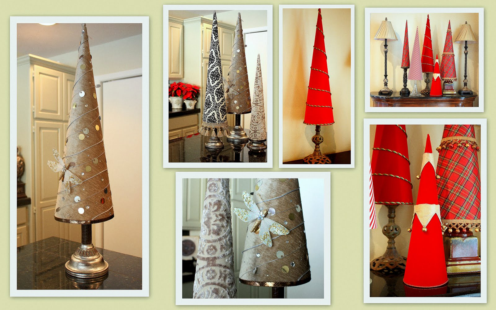 Fabric Covered Poster Board Christmas Tree Cones