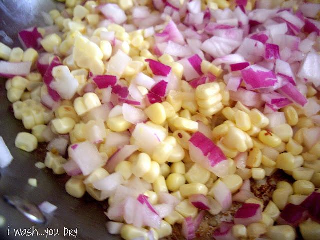 Corn and chopped onions.