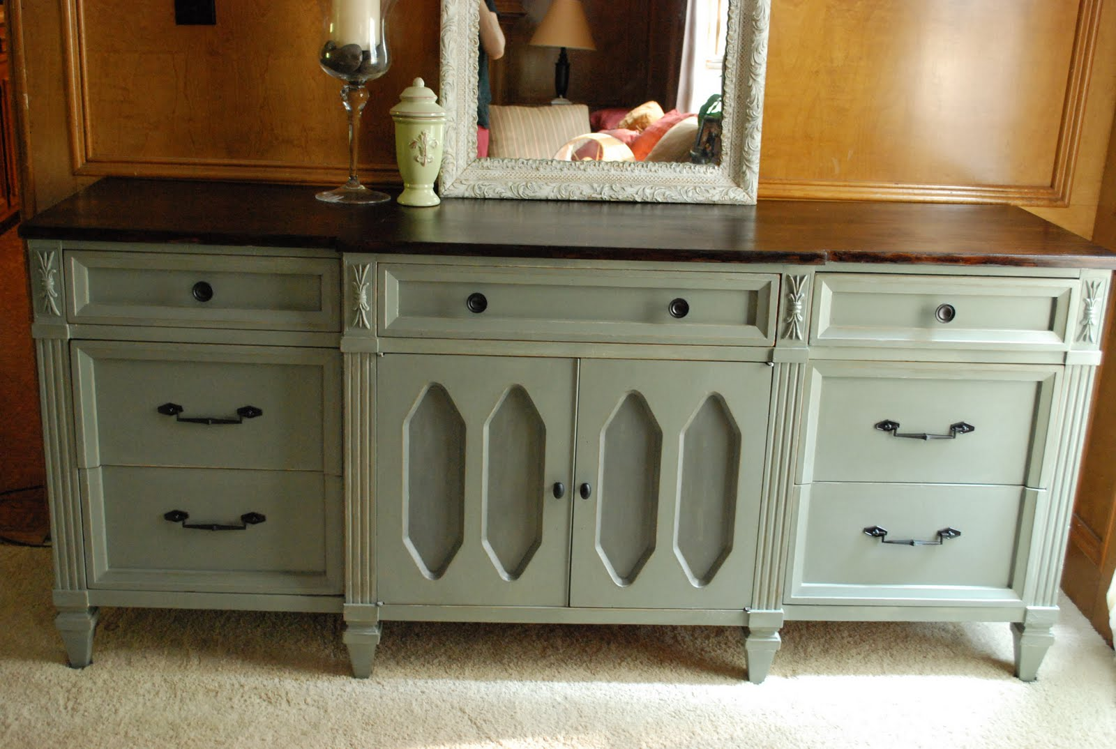 Remodelaholic Wooden Dresser Painted Green Furniture Redo