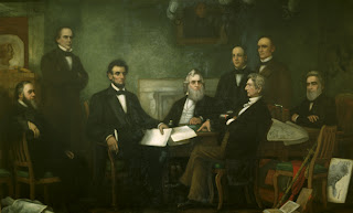 Lincoln met with his Cabinet for the first reading of the Emancipation Proclamation draft