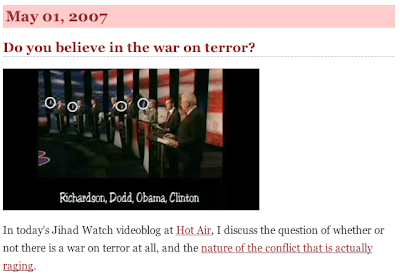 Via JihadWatch - Democrats answer 'do you believe there is a 'War on Terror'