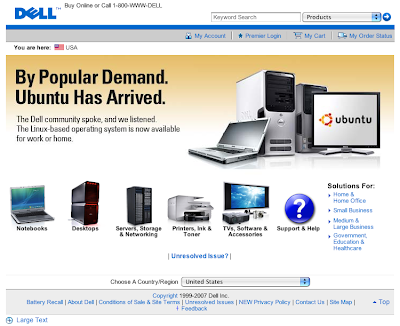 Dell Homepage featuring Ubuntu Machines