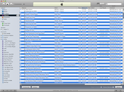 iTunes screenshot showing duplicate downloads of Cato Daily Podcast