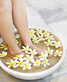 foot bath with flowers