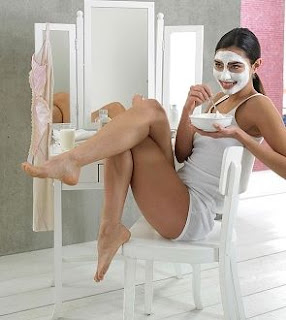 Woman with yogurt face mask