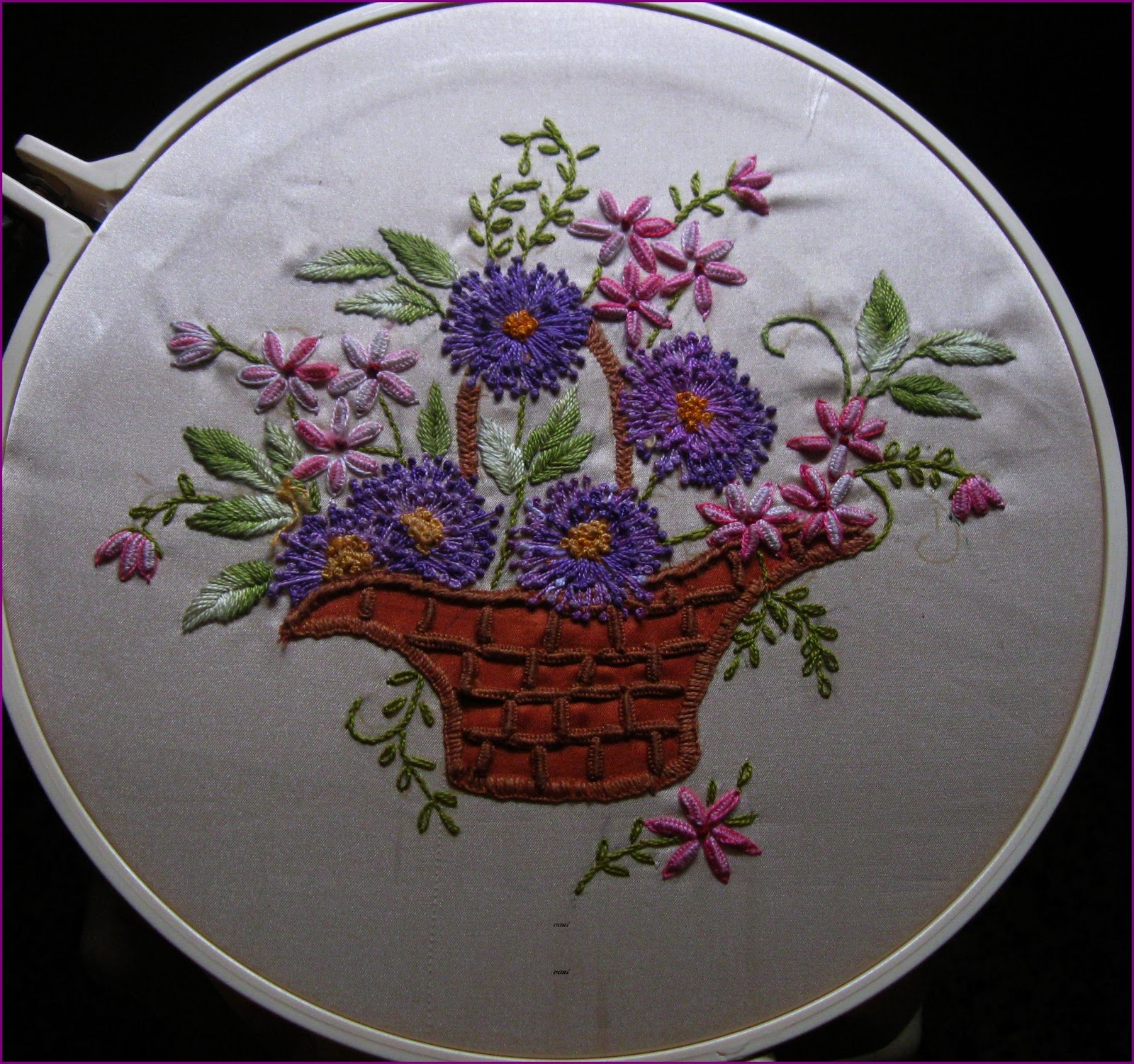 Vani s quot flower basket in dimensional embroidery