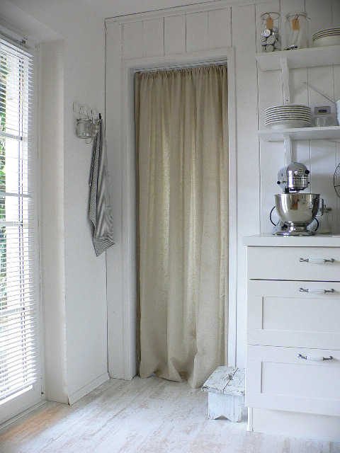 Curtain Doors to Pantry White Kitchen Scandinavian Design Stand Mixer Hardwood Floors