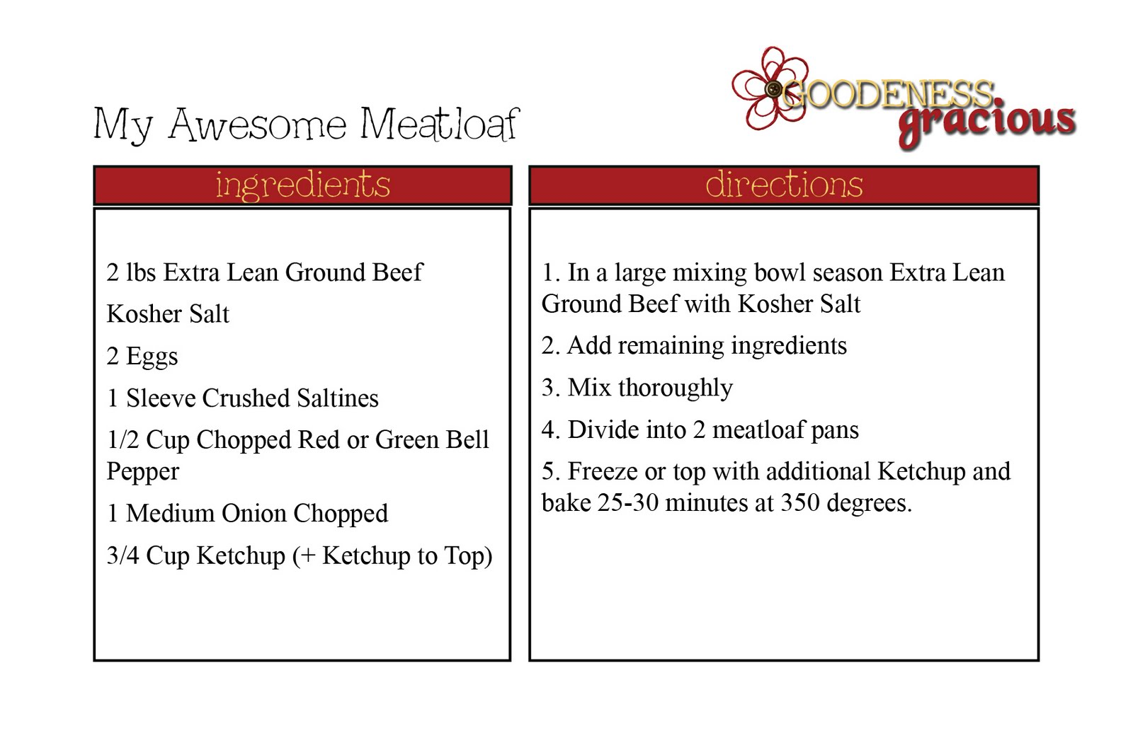 Bloggy Recipe Cards GOODEness Gracious