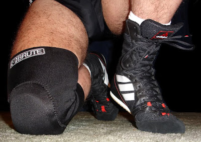 Womenboxing Shoes on Brute Kneepads Black Adidas Trunks And Black Adidas  Tygun Boxing Boots 08207cd9e