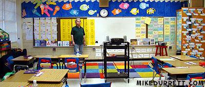 Mike Durrett revisits his 6th grade classroom at Fernbank School