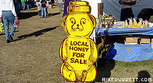 Sign: Local Honey for Sale.