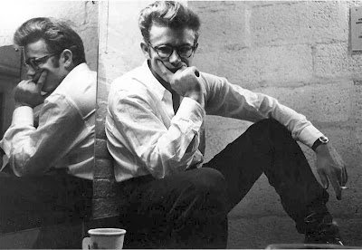 james dean pensive in glasses reflected in mirror