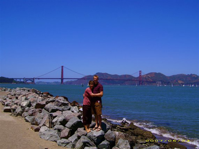 Kendra and Joel near the Golden Gate Bridge