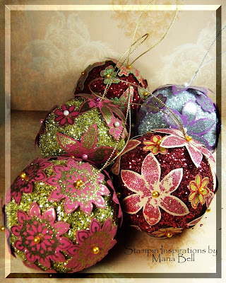 Stampin Inspirations by Maria: Glittery Christmas Ornaments :  indie crafts trim the tree diy glittery