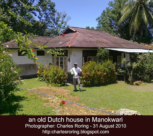 tropical concrete house in Manokwari constructed during the Dutch era