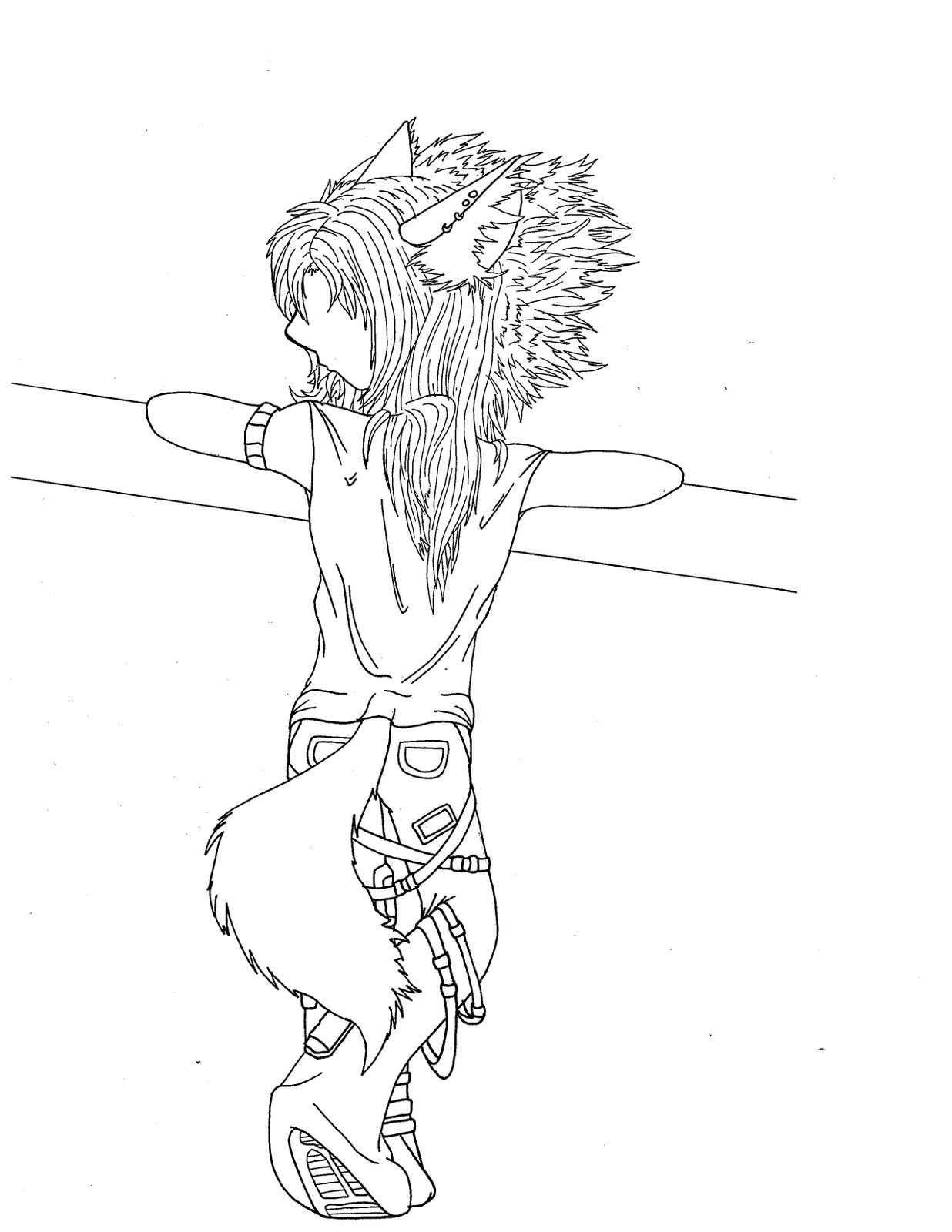Half Wolf Half Girl Anime Pages Coloring Pages