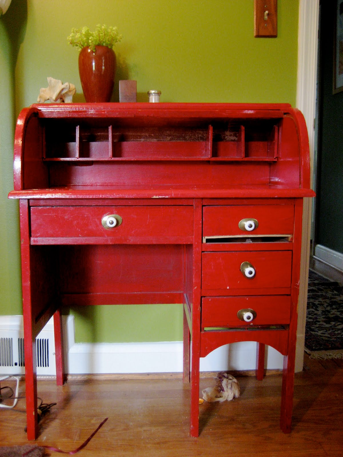 moving sale Small Red Rolltop Desk