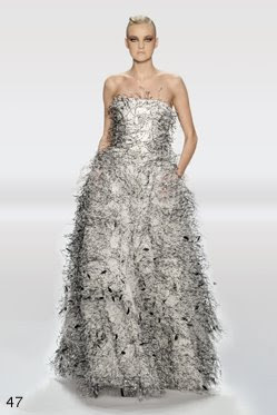 bill blass dress white with black and grey feather detail