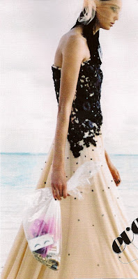 bill blass gown white with black embroidery