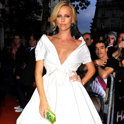 charlize theron in christian dior low cut dress