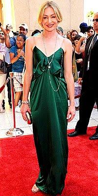 portia de rossi in long green lanvin dress