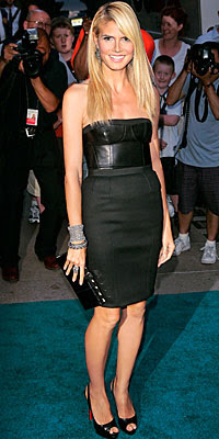 heidi klum in black leather topped kaufman franco