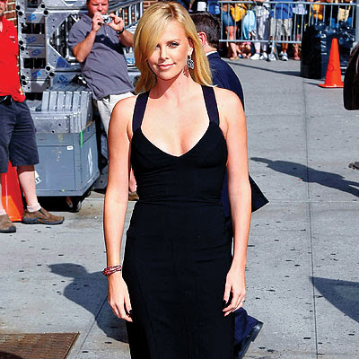 charlize theron in black narsisco rodriguez dress front