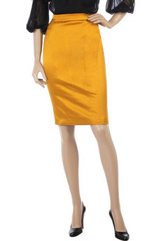 D&G yellow satin pencil skirt
