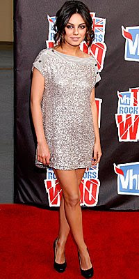 mila kunis in sequined mini dress by stella mccartney