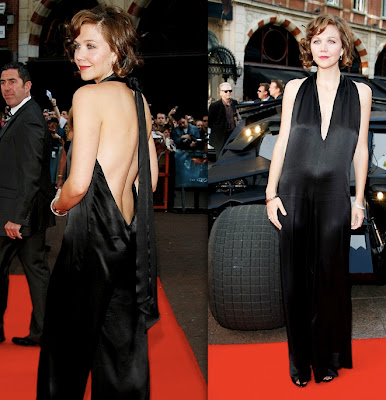 maggie gyllenhaal in black silk stella mccartney jumpsuit