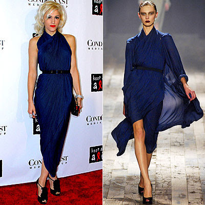 gwen stefani in lanvin blue draped gown