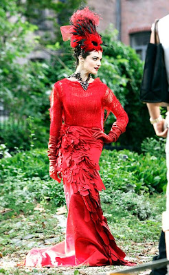 rachel weisz in red feathery outfit for vogue