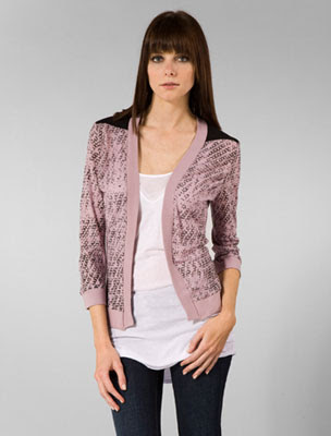 monrow mini cardigan in blush