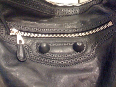 close up balenciaga black hobo