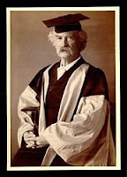 Mark Twain in cap and gown