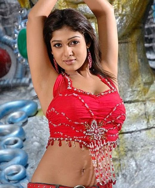 Nayanthara Ex Milky Armpits And Navel In Red Blouse