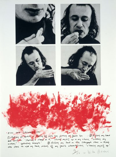 Vito Acconci Kiss off, 1971 lithograph in black and red on Arches wove paper 76.4 x 57.3 cm