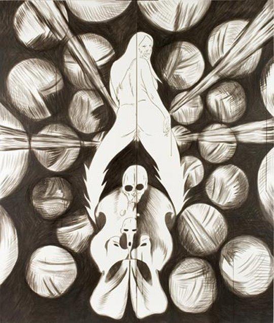Daniel Guzmán  Abi Road, from serie La búsqueda del ombligo, 2006-2007 ink on paper on wood panel 210 x 180 x 3.5 cm