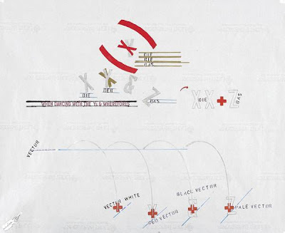 Lawrence Weiner  4 vectors, 2005 graphite, maker, collage and fugitive materials on paper 67.9 x 82.6 cm