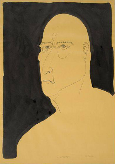 Thomas Schütte  Grosse Köpfe (Nr. H) Graphite, brush, pen and black ink on paper 99.1 x 67.3