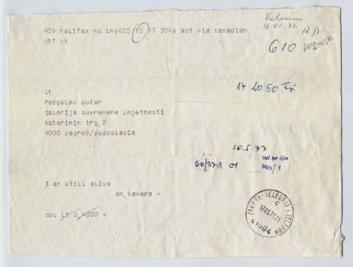 On Kawara I am still alive (18.05.1973), 1973 telegram 15,3 x 20,8 cm