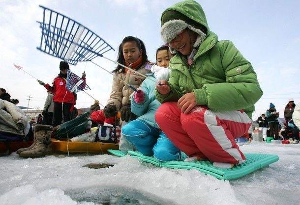 South Korea ice fishing