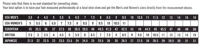 Footwear Size Comparison Chart
