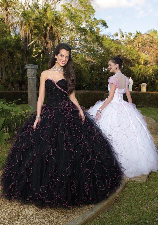 Vestido De 15 Años De Color Negro Y Rosado Vestidos Para