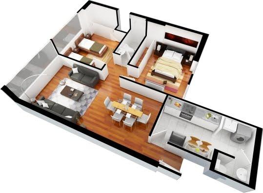 Interior design planos de departamentos gratis de 3 for Casa 3d gratis