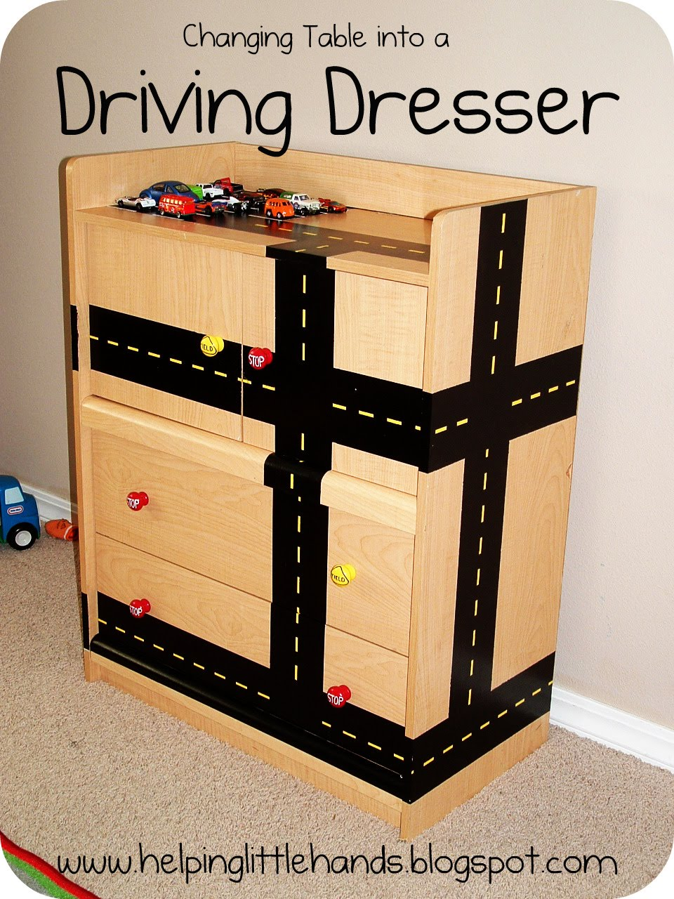 Remodelaholic Kids Changing Table Repurposed Playing Cars