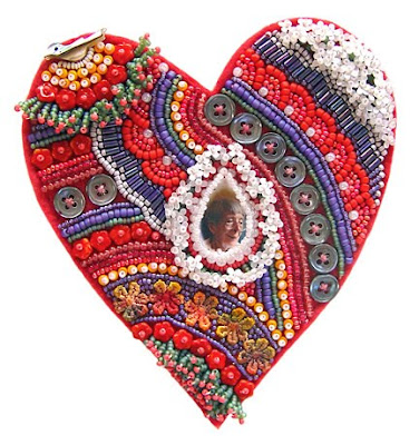bead embroidery by Robin Atkins, heart