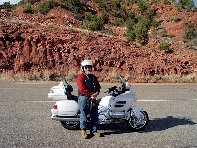 Robert Demar and our rented Goldwing motorcycle
