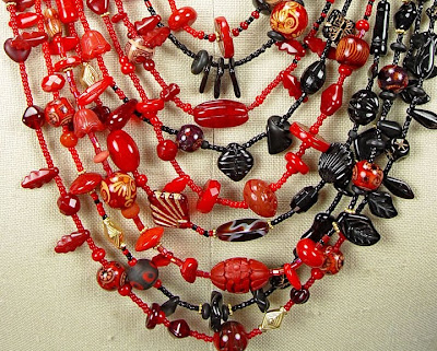 kimono necklace by Robin Atkins, detail, center where black and red beads are blended